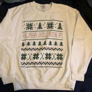 Alpha Omicron Pi white holiday sweatshirt large
